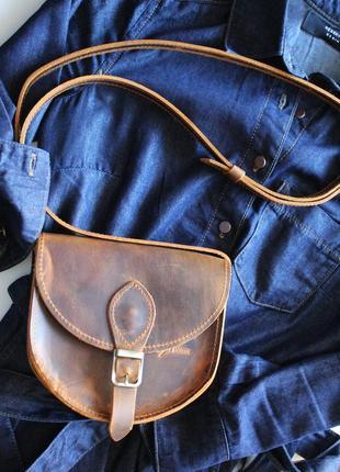 Женская сумка седло из натуральной кожи крейзи хорс с магнитом...