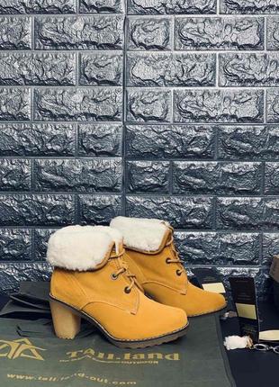 Натуральная кожа/овчина!!! женские ботинки на каблуке!!! хит п...