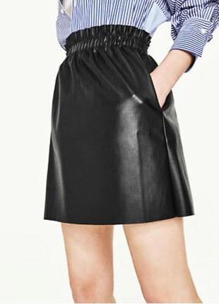 Новая юбка кожзам высокая талия  размер s-m с бирками