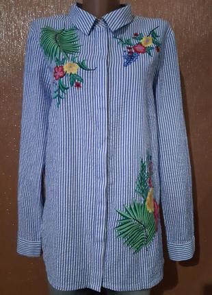 Рубашка в полоску,вышивка с двух сторон размер 14-16  f&f