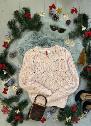 Актуальный нежно-розовый свитер оверсайз в узор №116