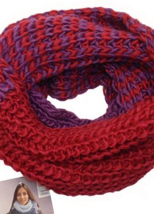 Снуд двухцветный вязаный крупная вязка хомут шарф - нидерланды