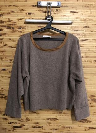 Шерстяной укороченый свитер пуловер джемпер see by chloe серо-...