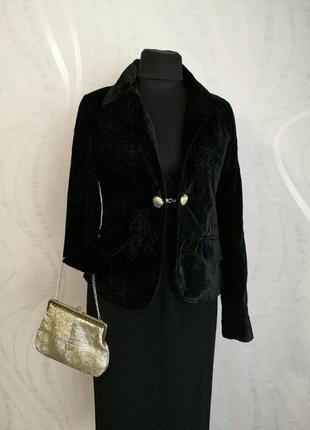 Бархатный,велюровый жакет,пиджак с вышивкой,нарядный