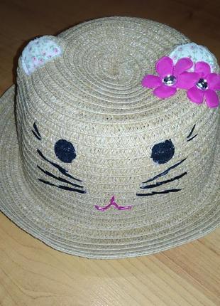 Красивая панамка детская котик с ушками на 3-6 лет