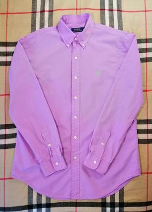 Рубашка polo ralph lauren с длинным рукавом лилового цвета m