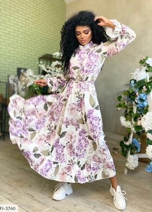 Красивое длинное платье в пол с пышной юбкой клеш длинный рука...