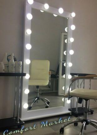 Передвижное зеркало с подсветкой на колесиках в полный рост, 1...