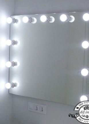 Настенное безрамочное зеркало для макияжа с лампочками 100*80 см