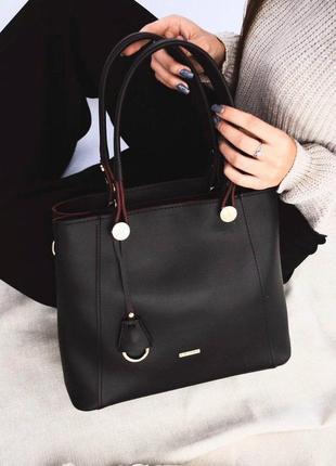 Черная классическая сумка деловая офисная