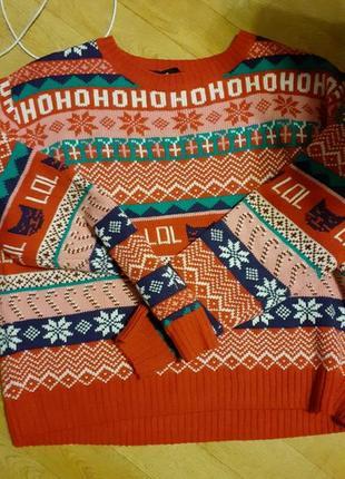 Тёплый праздничный рождественский свитер кофта
