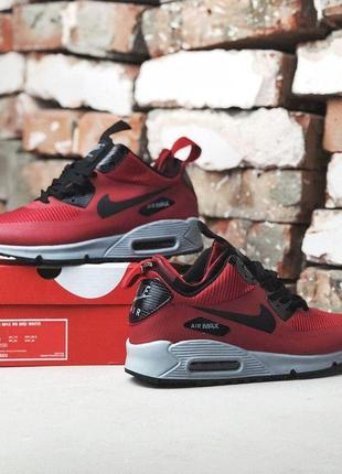 Nike air max 90 mid winter thermo red, мужские красные кроссов...
