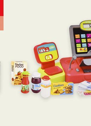 Игрушечный Кассовый аппарат 35559B сканер,микрофон,продукты,в ...