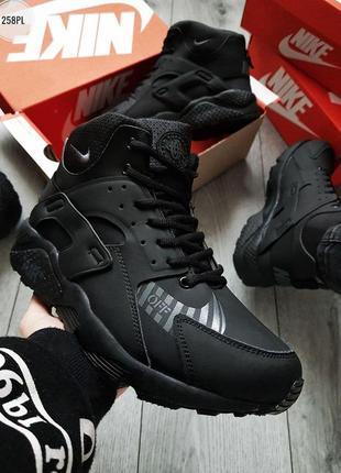 ✳️зимние nike air huarache black winter✳️мужские чёрные кроссо...