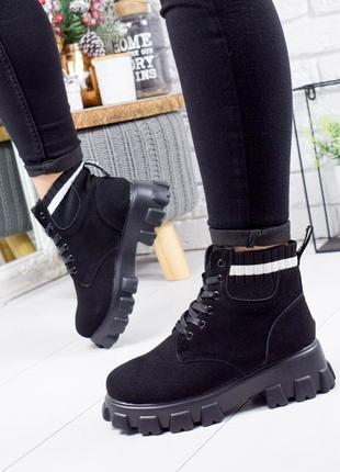 ❤ женские черные зимние  ботинки сапоги полусапожки ботильоны ...