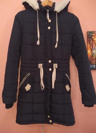 Пальто-парка зимнее для девочки-подростка 12-13 лет