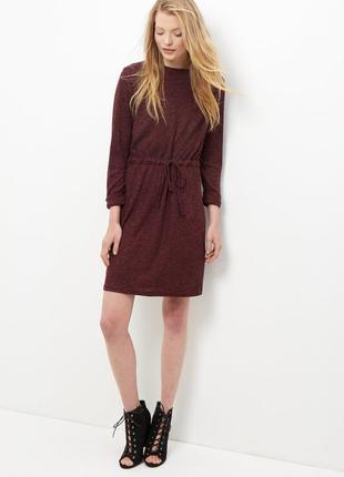 Платье в рубчик с кулиской на талии new look платье винного цв...