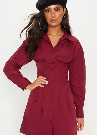 Новое приталенное платье винного цвета с объемными рукавами pr...