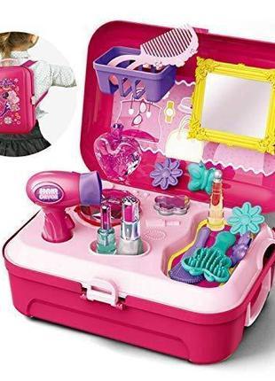 Детский игровой набор парикмахера в чемоданчике аксессуары, фе...