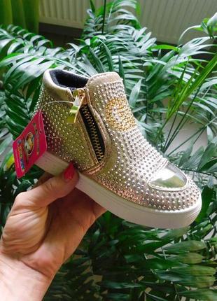 Демисезонные стильные ботинки со стразами от fieerinni девочкам