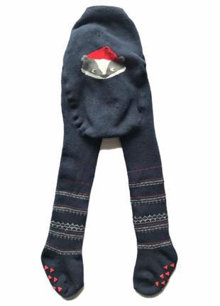 Детские коттоновые махровые колготки с енотом, 0+, 1-3 мес.