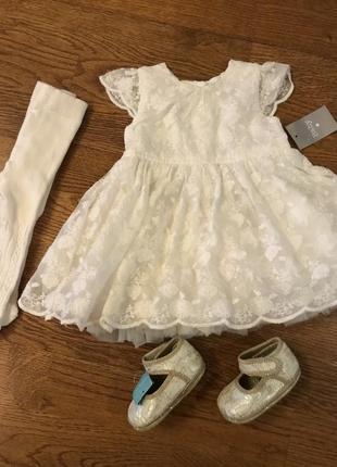 Комплект / платье на  крещение, 0-3 мес