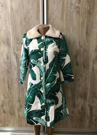 Пальто в стиле dolce gabbana принт зелёные листья