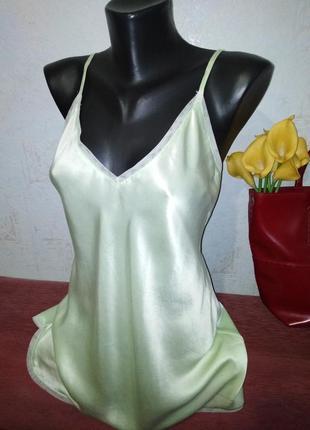 Натуральный шелк, нежно-салатовая ночная рубашка, beldona, с