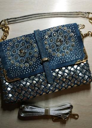 Джинсова сумка зі стразами, джинсовая сумка со стразами