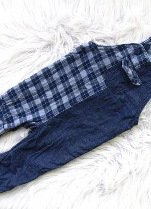Крутой  джинсовый утепленный полукомбинезон next