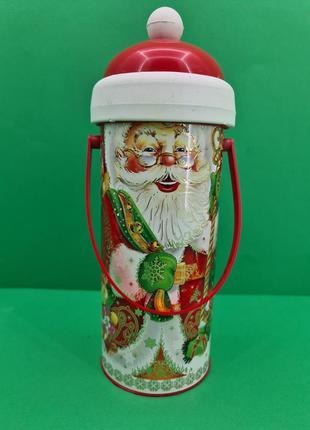 Новогодний тубус для конфет средний /Дед Мороз и медвежонок (1...