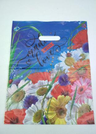 """Пакет с прорезной ручкой (30*37!3) Цветы """"Букет ромашек"""" (50 шт)"""