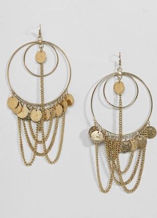 Серьги кольца с цепочкой и монетами