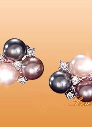 Королевские серьги пусеты под серебро с иск.жемчугом -3 цвета ...
