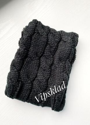 Хомут теплый, зимний, шарф,снуд, на флисе, косы черный