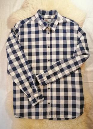 Рубашка jack & jones с длинным рукавом в клетку синяя белая с ...