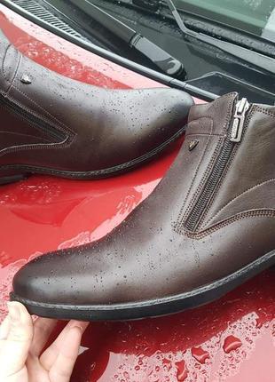Зимние кожаные классические смужские ботинки зимові черевики ч...