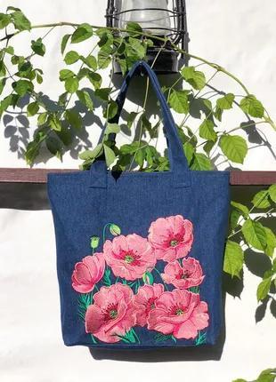 Джинсовая сумка маки с вышивкой гладь