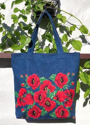 Джинсовая сумка маки с вышивкой