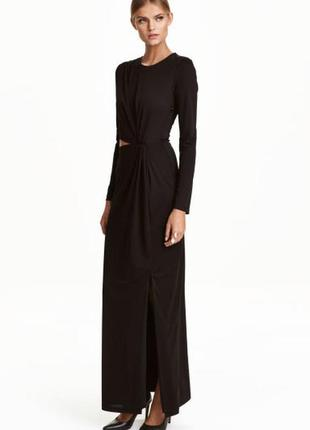 H&m платье макси с драпировкой, черное, коктейльное