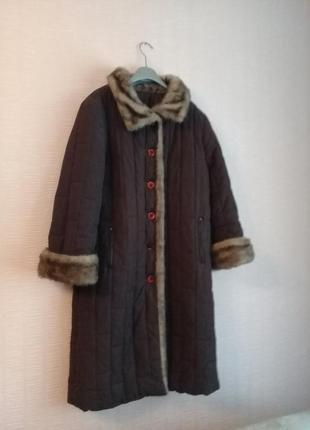 Итальянский пуховик пальто с мехом
