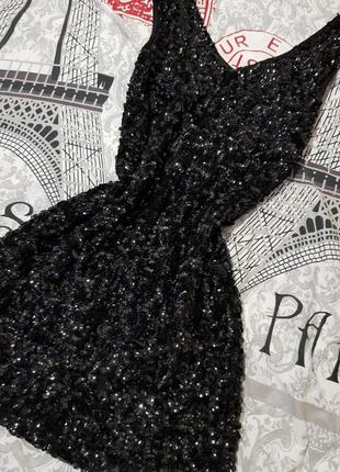 Платье в паетках,чёрное платье