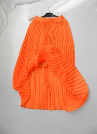 ✅красивая яркая юбка кислотно оранжевая полупрозрачный шифон п...