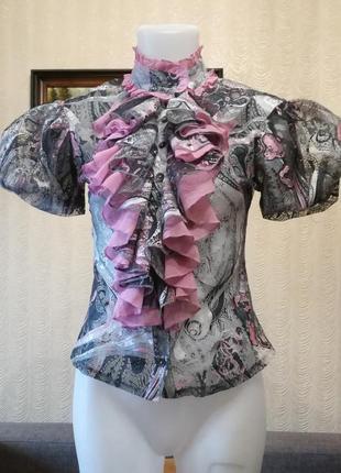 Блуза кружевная ажурная с жабо и объемным рукавом размер 36-38...