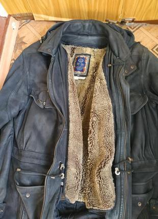 Винтажная кожаная куртка парка кожанка на овчине