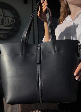 Классическая сумка офисная черная шоппер