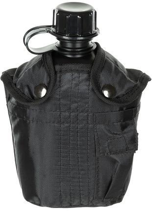 Фляга 1л пластиковая в чехле чёрная MFH