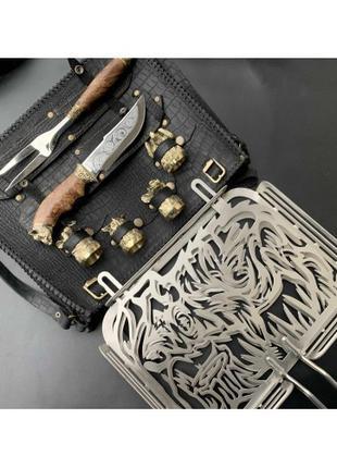Решетка Люкс Nb Art Кабан с ножом,вилкой и чарками 41330010