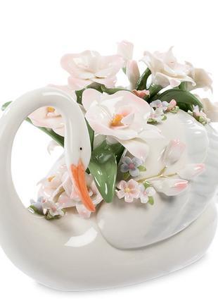 Статуэтка Pavone Лебедь с цветами 13 см 1106043
