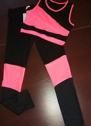 Комплект,костюм лосины+топ, одежда для фитнеса